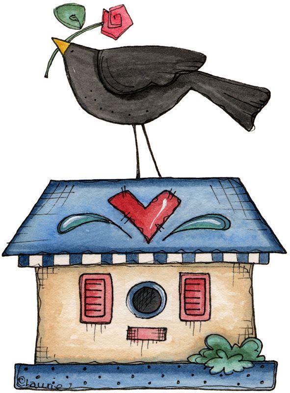 best clip art. Birdhouse clipart primitive