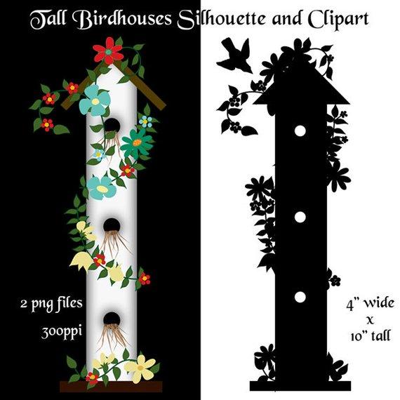 Birdhouse clipart primitive. Silhouette two png files