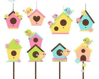 Etsy . Birdhouse clipart primitive