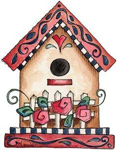 birdhouse clipart primitive