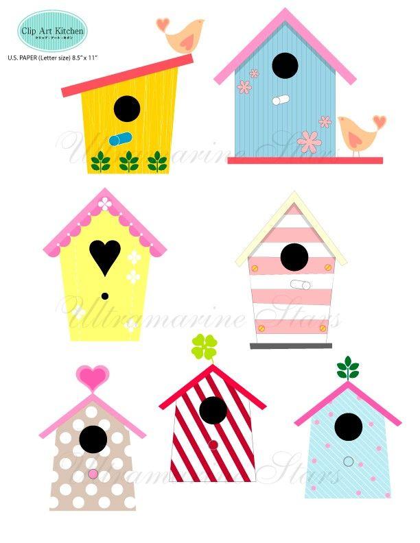 Birdhouse clipart printable. Digital clip art love