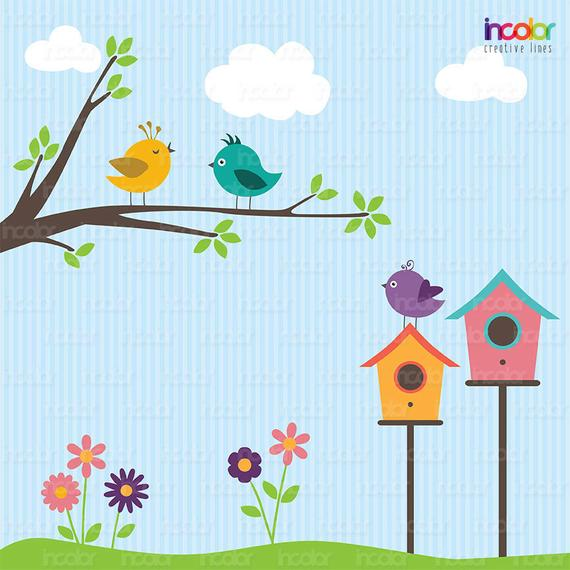 Birdhouse clipart printable. Birds branch and flowers