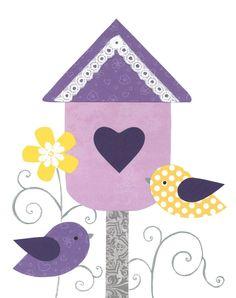 Birds and bird flowers. Birdhouse clipart purple