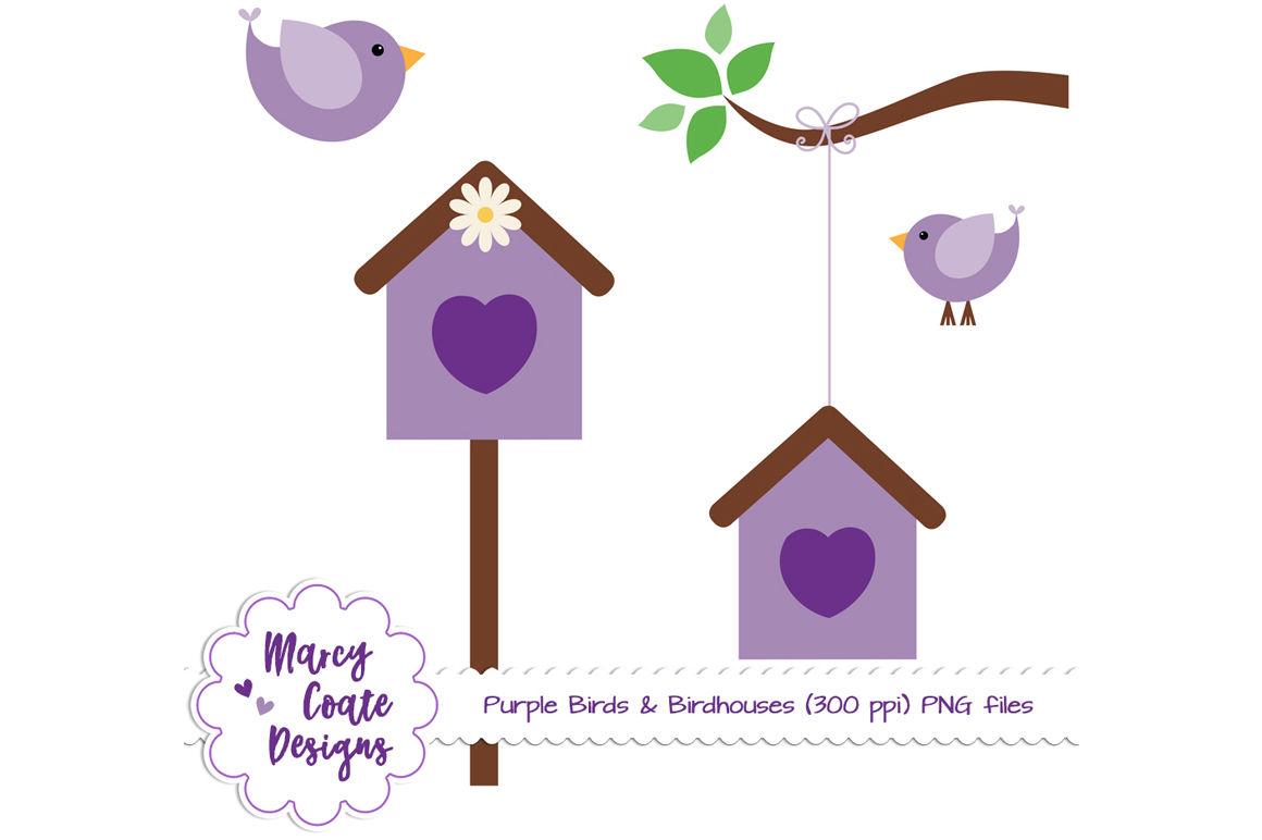 Birds birdhouses png set. Birdhouse clipart purple