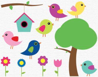 Birdhouse clipart scrapbook. Digital bird clip art
