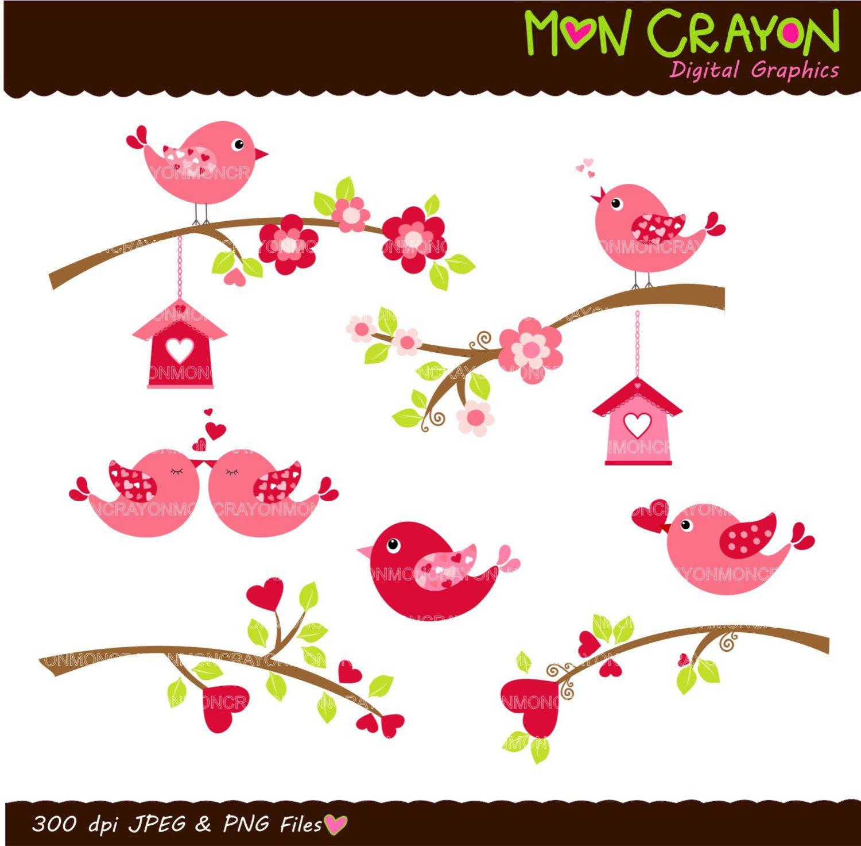 Birdhouse clipart scrapbook. Valentine s day birds