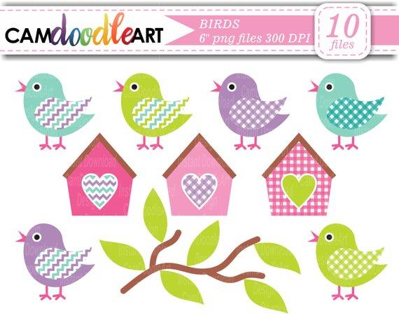 Bird collection branch . Birdhouse clipart scrapbook