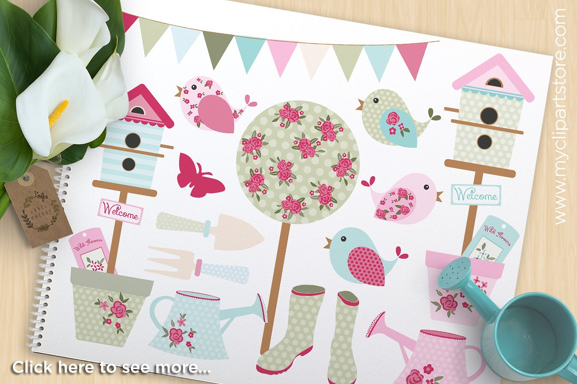 Birdhouse clipart shabby chic bird. Garden illustrations creative market