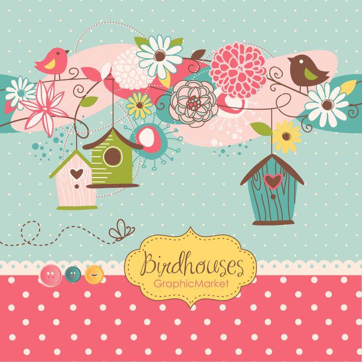 Birdhouse clipart shabby chic bird.  best gd birds