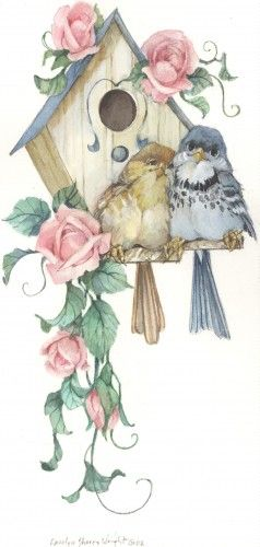 Birdhouse clipart shabby chic bird. Coming up roses x
