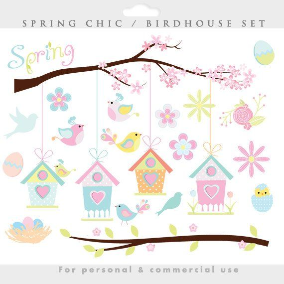 Pin on products . Birdhouse clipart spring