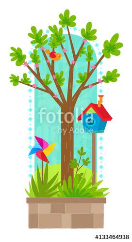 Birdhouse clipart spring. Tree in clip art