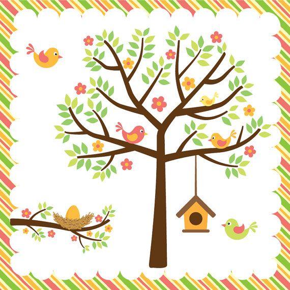 Birdhouse clipart spring. Birds trees and nest