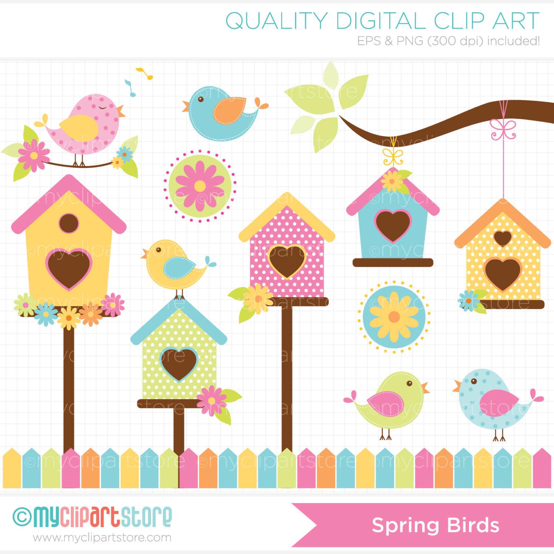 Birds bird house garden. Birdhouse clipart spring