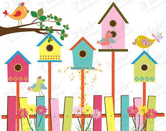 Bird house colorful pencil. Birdhouse clipart spring