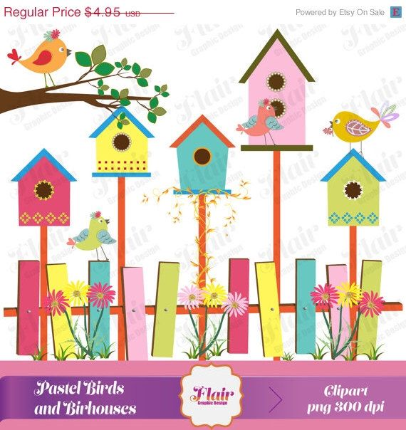 Pastel colored birds and. Birdhouse clipart spring
