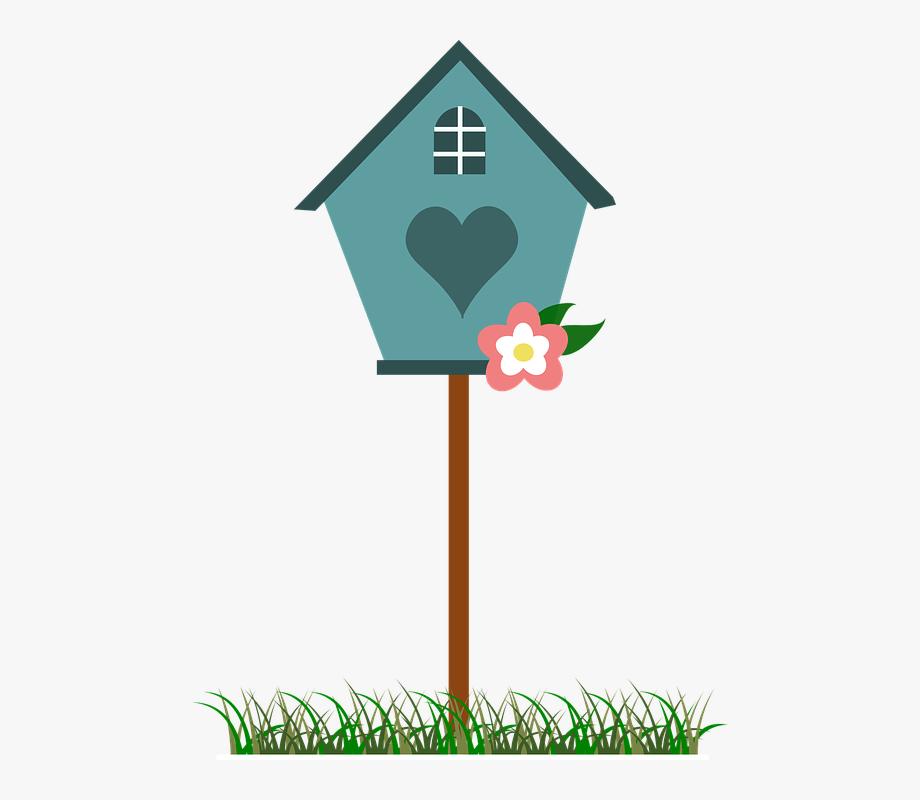 Bird house blue flower. Birdhouse clipart spring