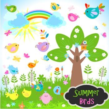 Birdhouse clipart tree clipart. Bird clip art summer