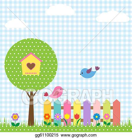 Birdhouse clipart tree clipart. Vector art birds and