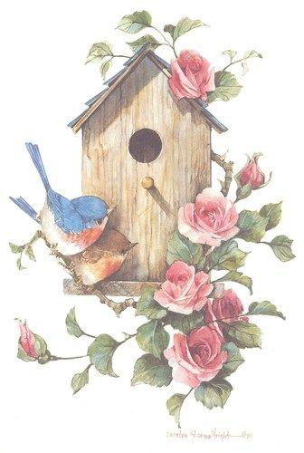 With bluebirds x lithograph. Birdhouse clipart vintage