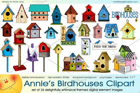 Annie s birdhouses illustrations. Birdhouse clipart whimsical