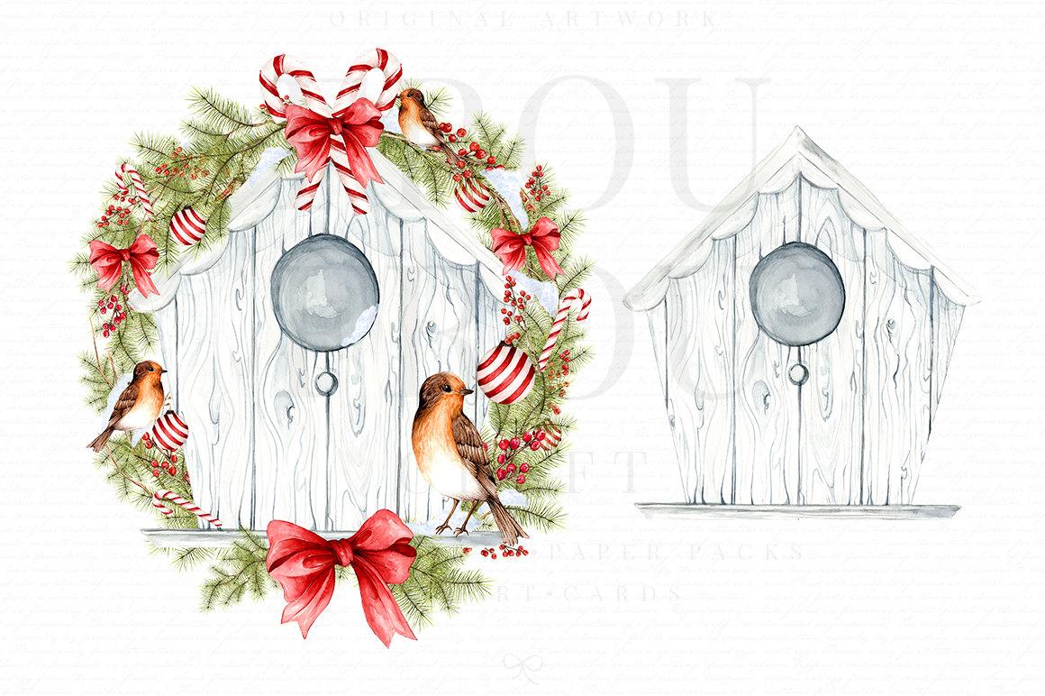 Watercolor christmas bird digital. Birdhouse clipart winter