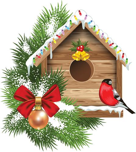 Morela f b a. Birdhouse clipart winter