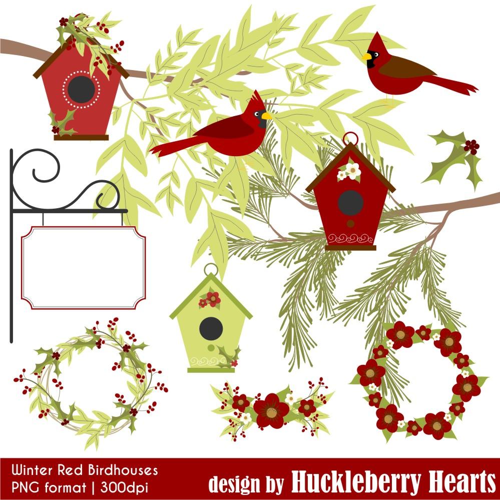 Birdhouse clipart winter. Red birdhouses huckleberry hearts
