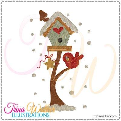 Machine embroidery design trina. Birdhouse clipart winter