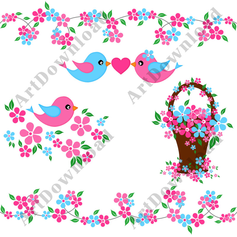Birds clipart borders. Clip art pink and