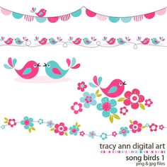 Birds clipart borders. Pink baby shower clip