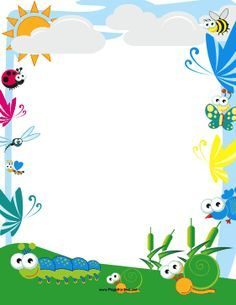 Cute bees and butterflies. Birds clipart borders