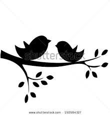 Birds clipart branch. On a silhouette clip