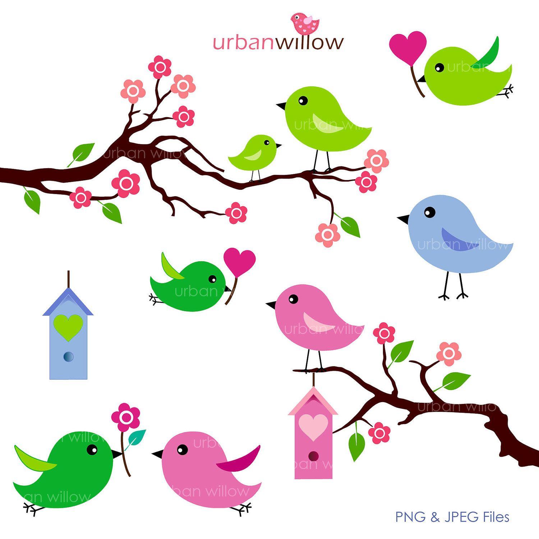 3 clipart cute. Love birds apple green