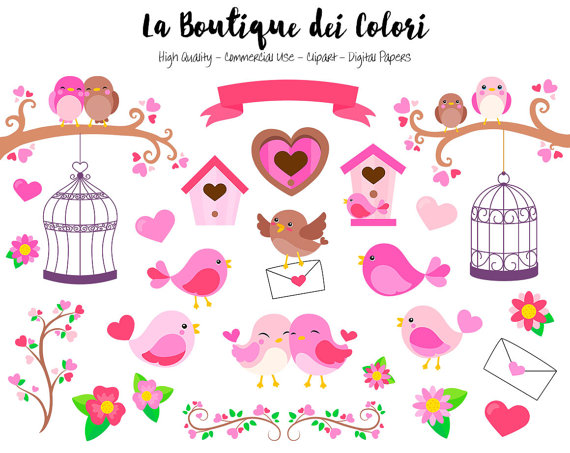 Birds clipart cute. Pink valentine s day
