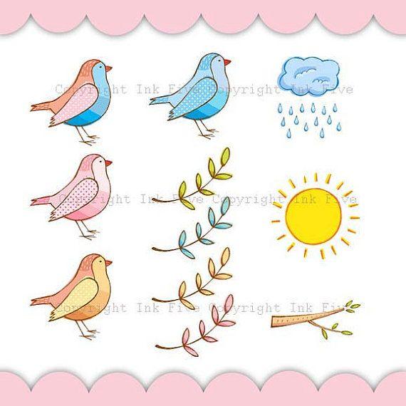 Spring clip art cute. Birds clipart doodle