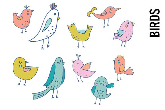 Pastel bird illustrations creative. Birds clipart doodle