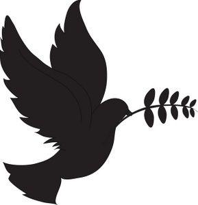 Kissing fairy silhouette bird. Birds clipart dove