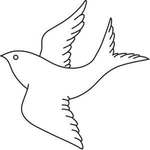 Bird image in flight. Cardinal clipart outline