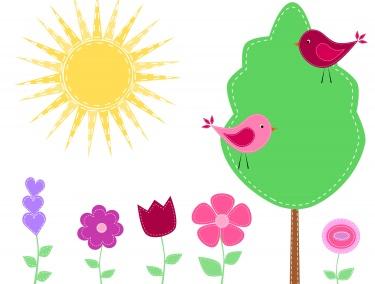 Birds clipart flower. Stitched garden meylah