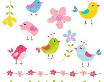bird clip art. Birds clipart flower