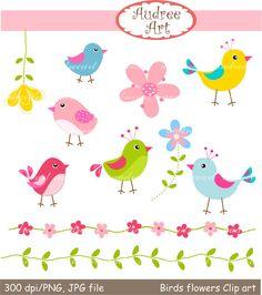 Bird clipart flower. Pink blue clip art