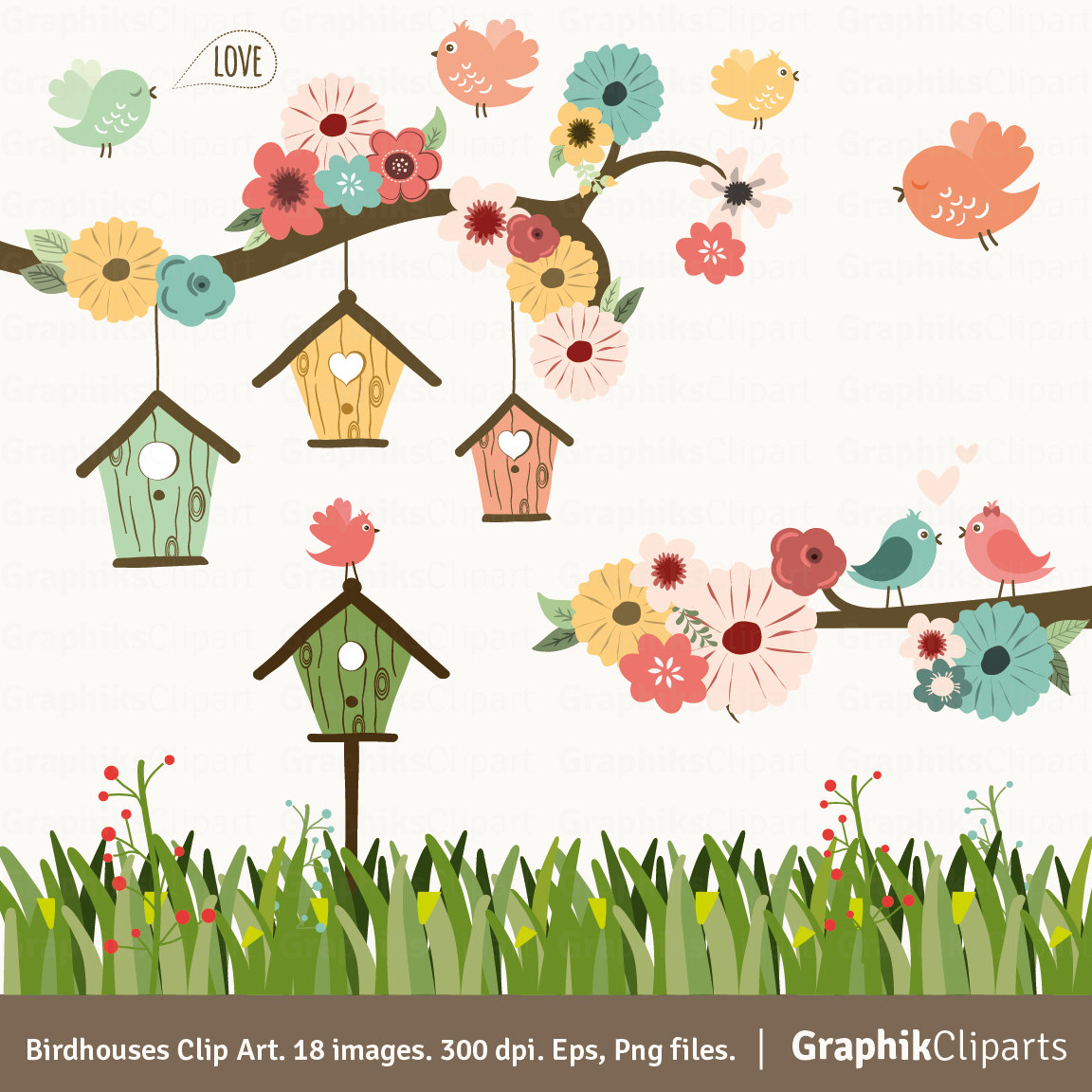 Birdhouses floral garden spring. Birds clipart flower