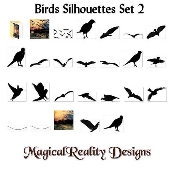 Birds clipart magical. Silhouettes set personal use