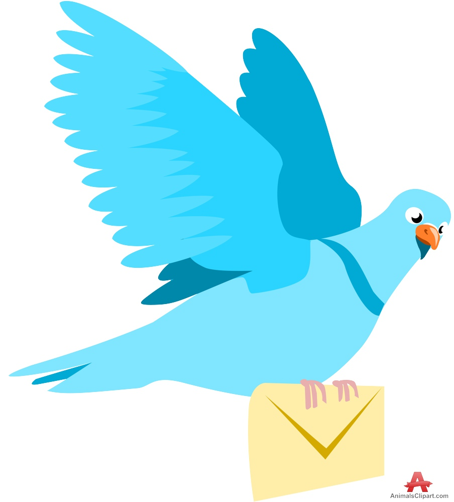 Pigeon flying with letter. Birds clipart mail