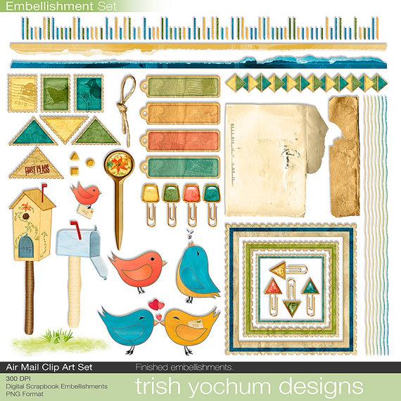 Birds clipart mail. Spring digital scrapbook printable