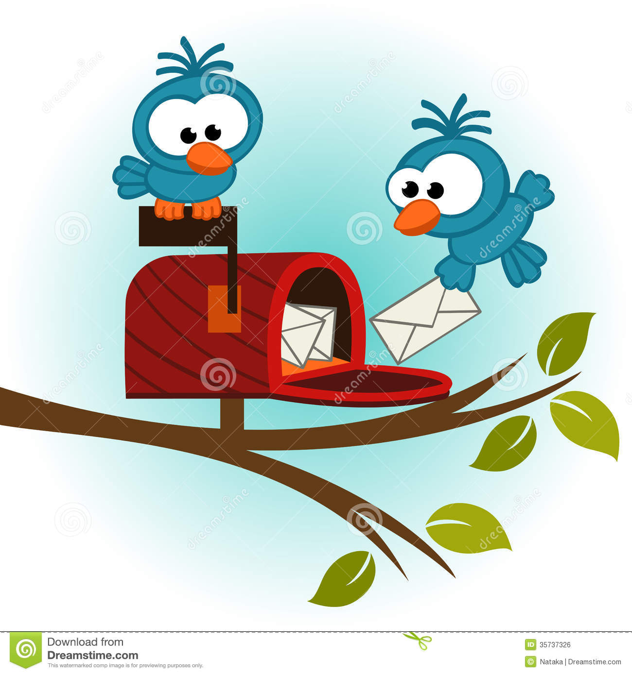 And mailbox with royalty. Birds clipart mail