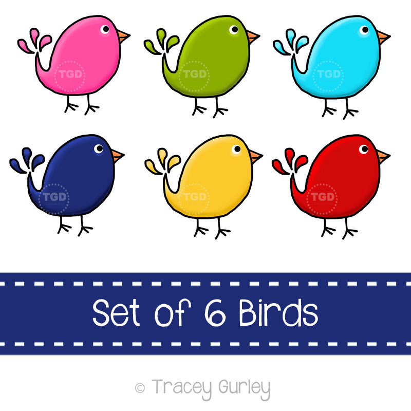 Birds clipart printable. Preppy cute set of