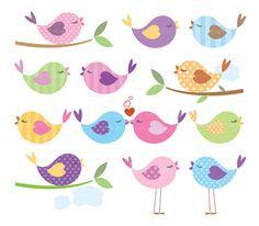 Birds clipart printable. Digital clip art branch