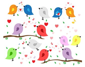Bird clipart printable. Love etsy set birds
